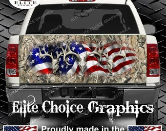 American Buck Obliteration Skull Truck Tailgate Wrap Vinyl Graphic Decal Sticker Wrap