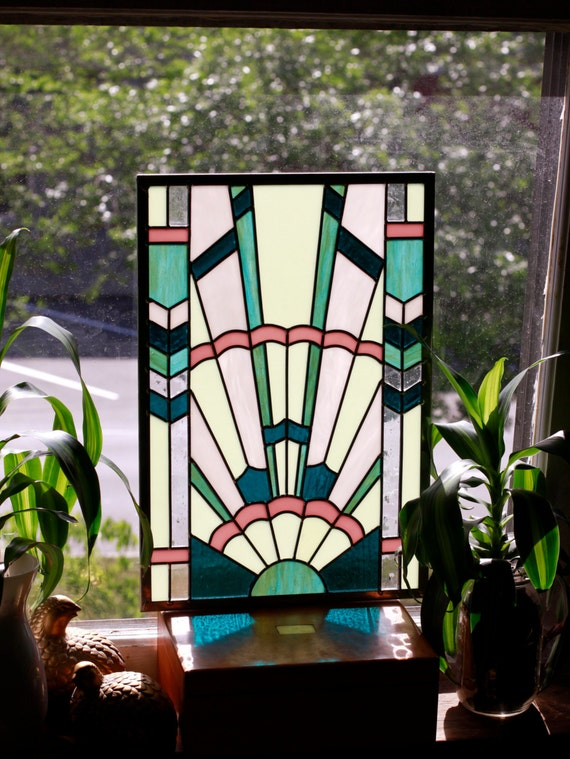 Art deco stained glass window panel in pastel colors for Art deco glass windows