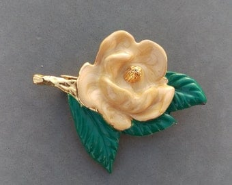 Mothers Day Gifts, Spring's Hot Color is Peach: Herald Spring with the gold, peach and green enameled brooch!