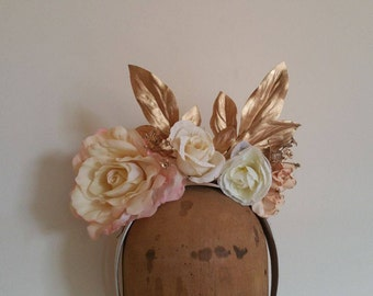 Flower Crown - Peach, Ivory & Gold Fascinator