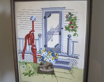 Country Cottage Crewel Embroidery Wall Hanging, Vintage
