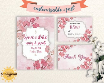 Wedding invitation set printable - wedding invitation template watercolor - wedding invitation template download - printable wedding