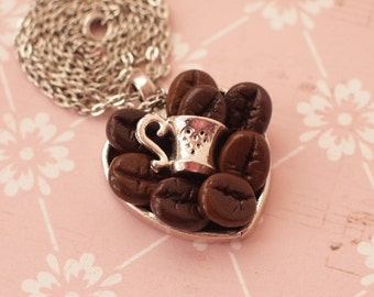 Coffee Necklace Coffee heart with cup Coffee lovers