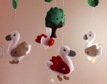 Swan Baby Mobile, Crib Mobile,  Nursery Mobile, Ready to Ship, Swan felt,