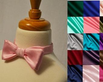 Custom Satin Bow Tie | Mens Satin Bow Tie | Pre tied Mens Bow Tie |
