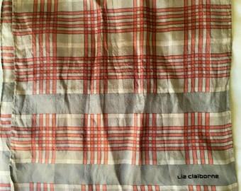 Vintage 1990's Liz Claiborne Designer Pure Silk Plaid Patterned Long Scarf