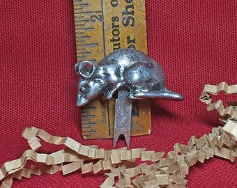 Vintage 1977 Pewter Mouse Cheese Fork/Pick