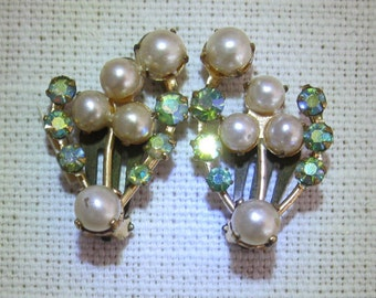 1950 Earings with Faux Pearls and Rhinestones.