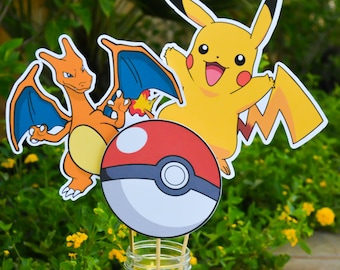 Pokemon Centerpieces Pokemon Go Centerpieces Pokemon Go Birthday Pokemon Birthday Decorations Charzard Pokemon Cake Topper Pikachu Birthday