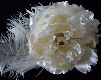 Large Peony with feather accent
