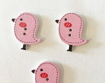 Pink Bird Buttons - Pink Button - Large Button 25 mm Buttons - 1 Inch Button - Flatback Buttons - Craft Supplies Shankless Buttons - Notions