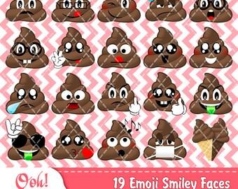 Printable Poop Emoji Clip Art Smiley Face Feelings Clipart Smiling Poop Emoji Funny Poop Emoticons Party Supplies Kawaii Poo Cute Poop Emoji