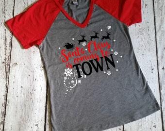Merry Christmas Top - Women's Tops - 3/4 Length Raglan - Baseball Tee - Christmas T Shirts - Womens Christmas Tops - Christmas Tee Shirts