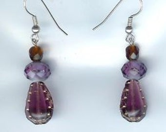 Lavender Stitch in Time Drop Earrings