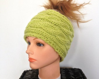 Women's Knitted Cabled Wool Ear Warmer - Green