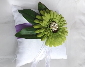 Purple Wedding Ring Pillow, White Ring Pillow, Satin Ring Bearer Pillow, Silk Ring Pillow, Flower Ring Pillow