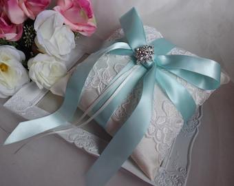 Silk Ring Pillow, Ring Bearer Pillow, Lace Ring Cushion, Aqua Ring Pillow, Something Blue Pillow, Ivory Silk Ring Pillow, Satin Ring Pillow