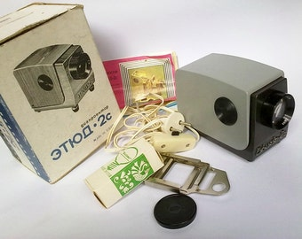 SALE 20% off Vintage Russian 35 mm Slide Projector ETUDE 2C with original box, Soviet Era Collectible Projector - made in USSR 80s