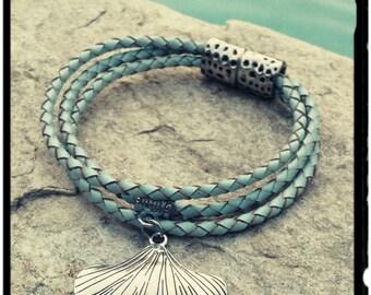Atlantis - Baby Blue & Sand Triple Strand Braided Leather Bracelet - Magnetic Closure - Large Silver Seashell Charm/Bohemian Inspired Cuff