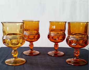 Orange and Yellow Set of Four Goblet Glasses