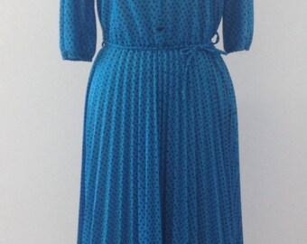 Vintage Teal and Black Printed Dress