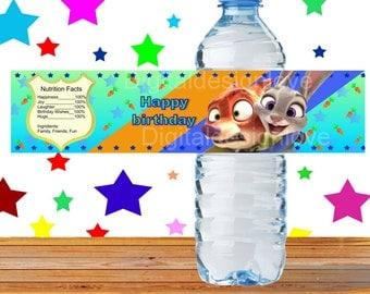 Zootopia Inspired Water Bottle Labels Zootopia Bottle Label Zootopia Water Bottle Label Zootopia Birthday PRINTABLE Zootopia Labels Water