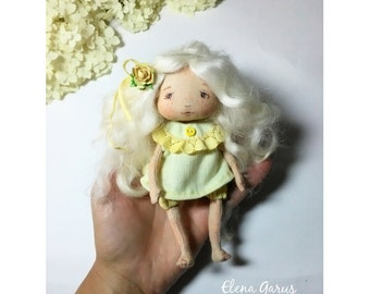 Cloth doll Art doll OOAK doll Textile doll Collecting doll Fabric doll Soft doll Rag doll Doll in yellow dress Handmade interior doll Gift