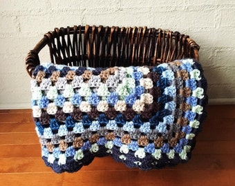 Blue Nautical Crochet Granny Square Baby Blanket