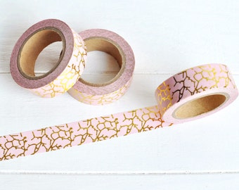 Pink and Gold Washi Tape. 15mm x 10m. Gold Foil Washi. Pink Crackle Washi. Pink Washi Tape. Pink Planner Supplies. Gold Planner.