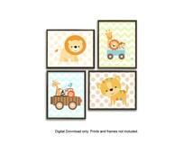 Instant Download Printable Set of 4 Baby Safari Jungle Animals Lion Tiger Giraffe Monkey Orange Blue Green Nursery Baby Girl Boy Bedroom Art