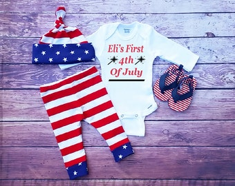 Baby Boys First 4th Of July Outfit, Long Sleeve Bodysuit,Stars And Stripes,Customize Name, Leggings And Hat, Fourth Of July Outfit Set