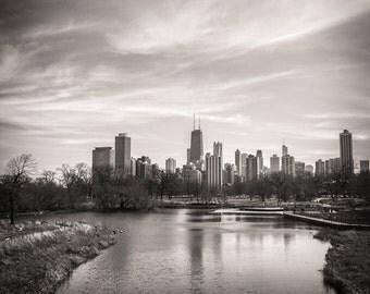 Chicago Skyline, Landscape Photography, Black and White Photography, Urban Art, Fine Art Photography, Chicago Skyline Over Lake