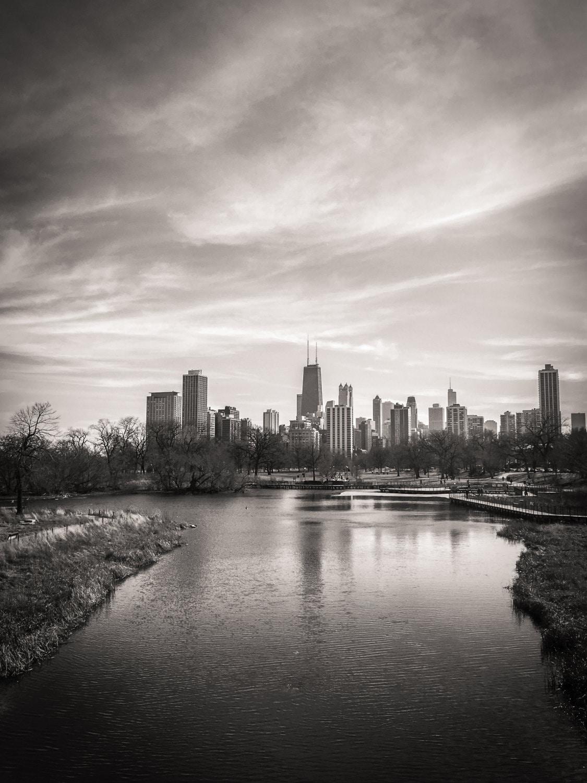 Chicago skyline landscape photography black and white for Chicago landscape