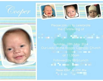 Christening Baptism 'Collage Cube' Invitation! Digital Printable Files - Personalised To You!!