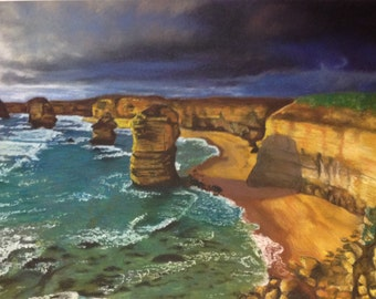 Original drawing The Cliffs Before The Storm - OOAK