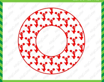 Cheerleader Circle Patterned Monogram Frame SVG DXF PNG eps Cut Files for Cricut Design, Silhouette studio, Sure Cuts A Lot, Makes the cut