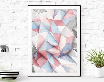 Blue and Pink Triangles Print Art, Blue and Pink Triangles printable art, Print Art, Triangles Decor, Blue Art Print, geometric wall art