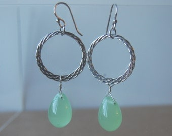 Sterling Silver and Green Glass Drop Earrings