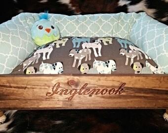 Repurposed wine crate pet bed