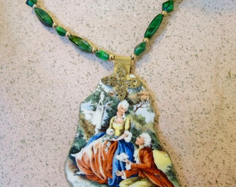 "Charming Handmade Upcycled Beaded Necklace with Vintage ""Sabin"" China Pendant french country scene"