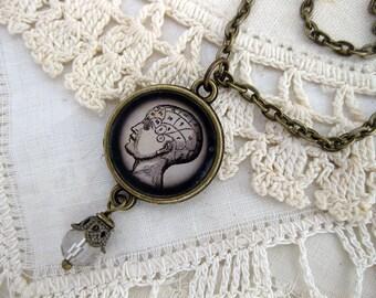 Phrenology Chart Pendant Necklace
