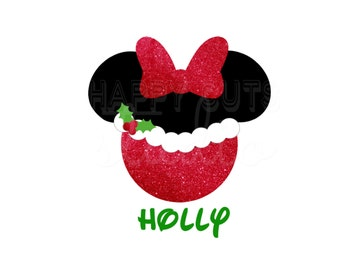 Personalized Mrs. Claus Minnie Mouse  with Red Glitter  Christmas Matching Family Husband Wife Disney Iron On Decal Vinyl for Shirt 178