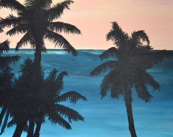 Barbados fishing at sunrise - original acrylic painting