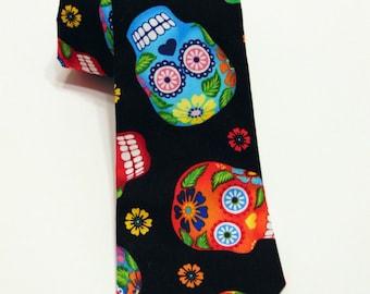 Candy Skull Necktie, Candy Skull Tie, Sugar Skull Necktie, Sugar Skull Tie, Skull Necktie, Skull Tie, Mens Necktie, Mens Tie, Gothic, Goth
