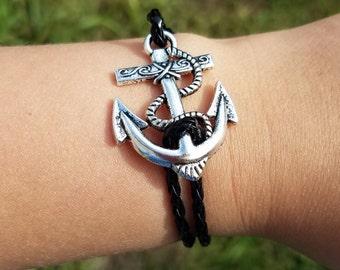Summer outdoors anchor bracelet, black faux leather anchor bracelet, leather bracelet, nautical bracelet, beach bracelet