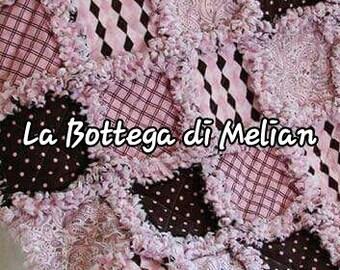 Rag quilt patchwork blanket
