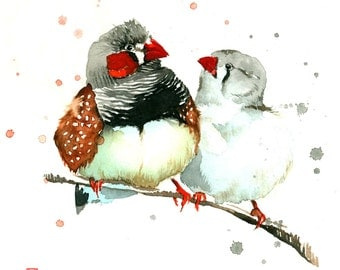 Zebra Finches Watercolor Painting Fine Art Giclee Print / Bird Painting / Animal Art / Wildlife Paintings