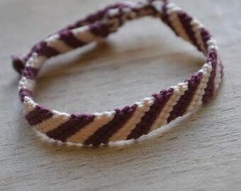 Bordeaux and beige cotton bracelet