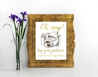 Instagram wedding sign Oh, snap wedding signs Wedding hashtag sign Wedding gold decor Instagram hashtag wedding sign Social media sign