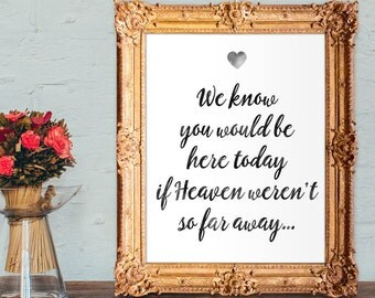 wedding memorial sign - we know you would be here today if heaven weren't so far away - 8x10 - 5x7 Printable